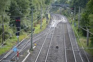 Blick in Richtung Dombühl, am ehm. Bahnhof in Leutershausen-Wiedersbach