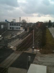 Blick auf den Bahnhof in Wassertrüdingen, Werkausfahrt Schwarzkopf