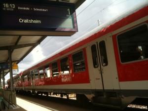 Kurzzug Crailsheim-Dombühl-Schnelldorf - Crailsheim, steht den ganze Tag leer rum, fährt lediglich einmal hin und zurück